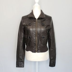 Arden B Brown Faux Leather Vegan Fitted Jacket L
